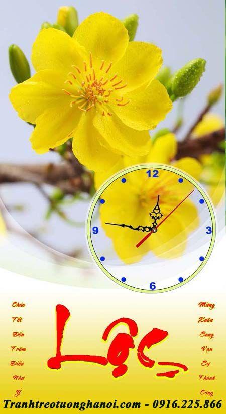 Tranh treo lịch tết hoa mai vàng
