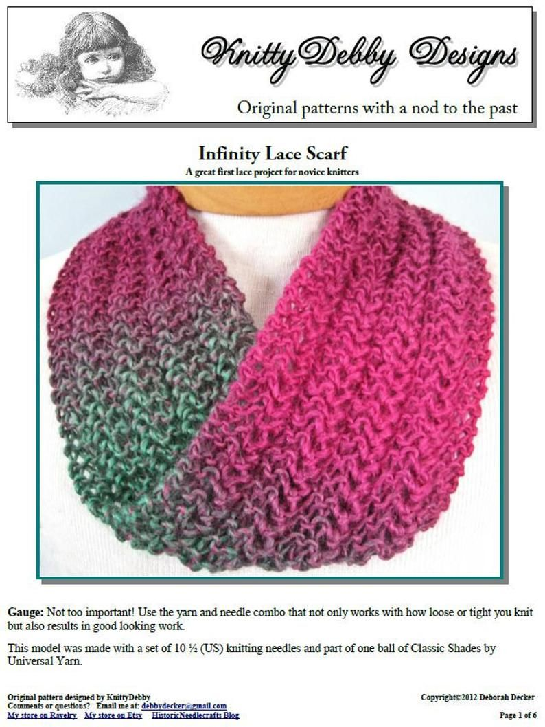 Infinity Scarf knitting pattern Knit Lace Easy for ...