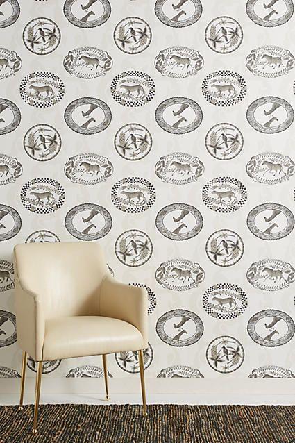 Anthropologie Wild Medallion Wallpaper Black, white