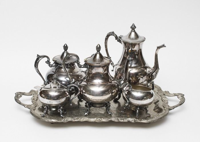 5 Pc Silver Plated Coffee Tea Service Set With Tray Stamped On Copper