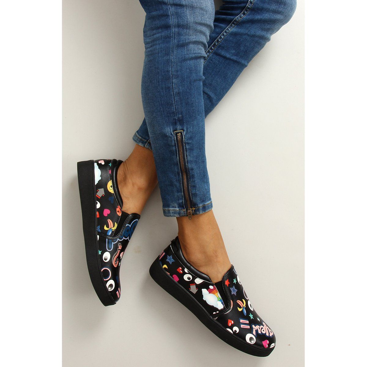 Sportowe Damskie Obuwiedamskie Czarne Slipony Komiksowe 6120 Black Obuwie Damskie Shoes Gucci Mules Mule Shoe