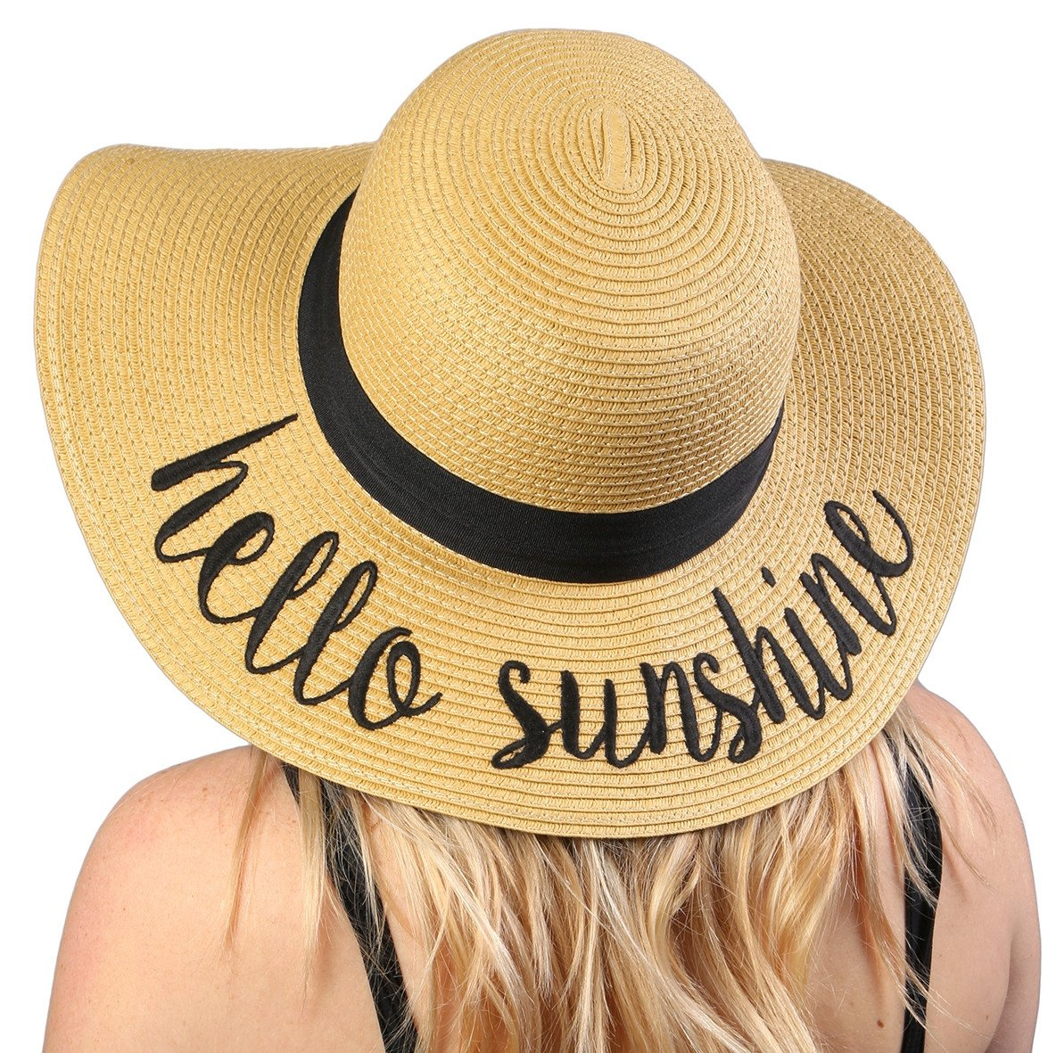 1c6cdb2577b75 Funky Junque s Women s Bold Cursive Embroidered Adjustable Beach Floppy Sun  Hat - Hello Sunshine