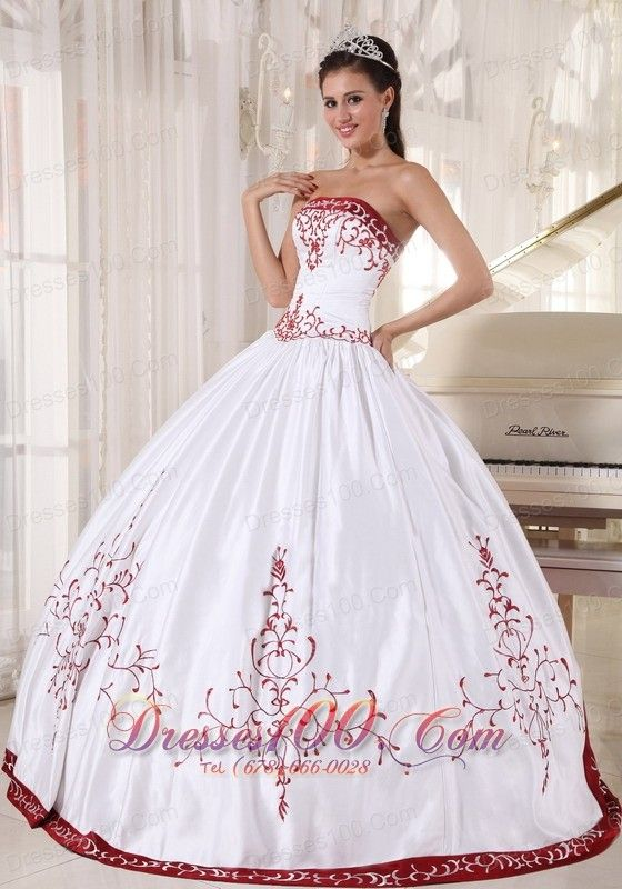 2aeb8ce70ba9c Discount White And Wine Red Ball Gown Strapless Floor-length Satin Embroidery  Quinceanera Dress - US$215.69