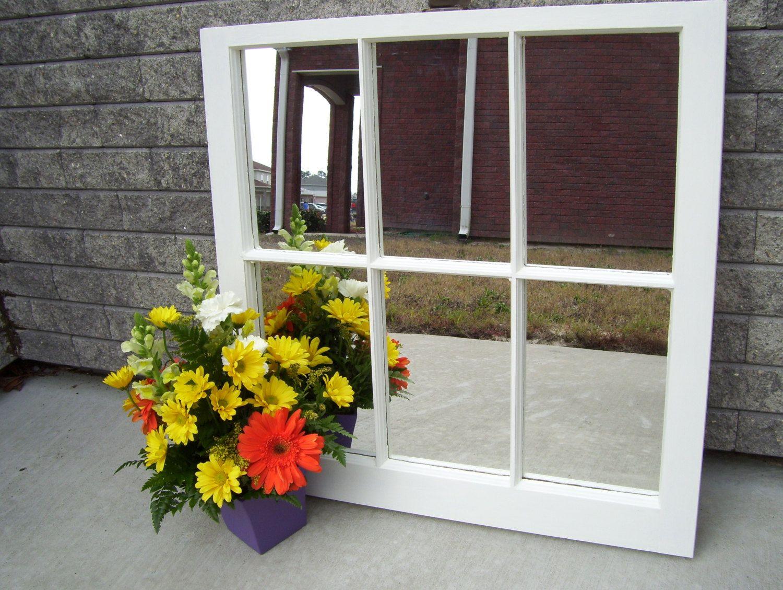 decorative 28x28 antique white 6 pane window frame mirror 11000 via etsy