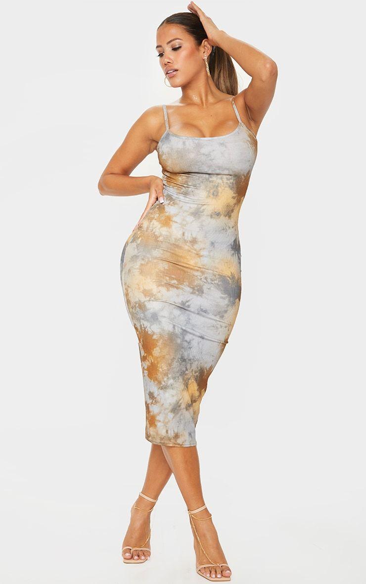 Shape Tan Tie Dye Rib Strappy Midi Dress Strappy Midi Dress Dresses Midi Dress [ 1180 x 740 Pixel ]