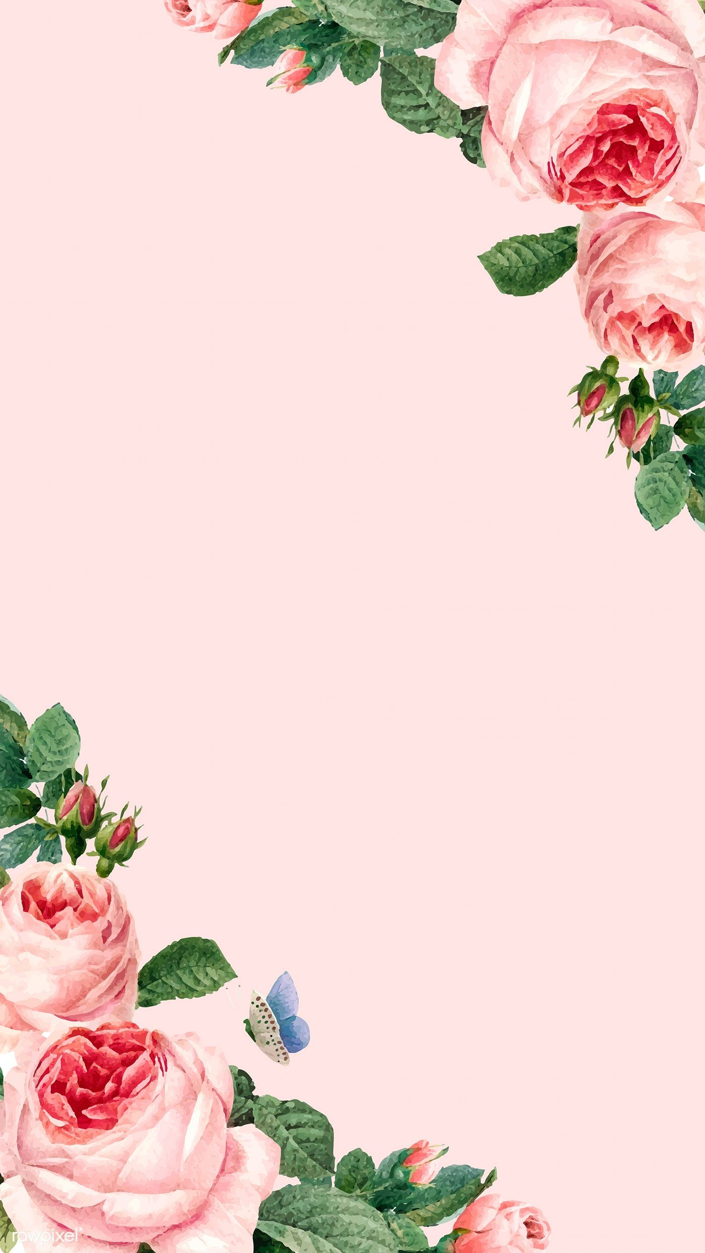 Hand Drawn Pink Roses Frame On Pastel Pink Background Vector Free Image By Rawpixel In 2020 Flower Background Wallpaper Pink Flowers Wallpaper Pink Floral Background