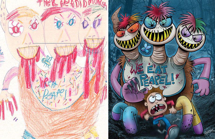 20 Artists Recreate Kidsa Doodles Of Scary Monsters Kids