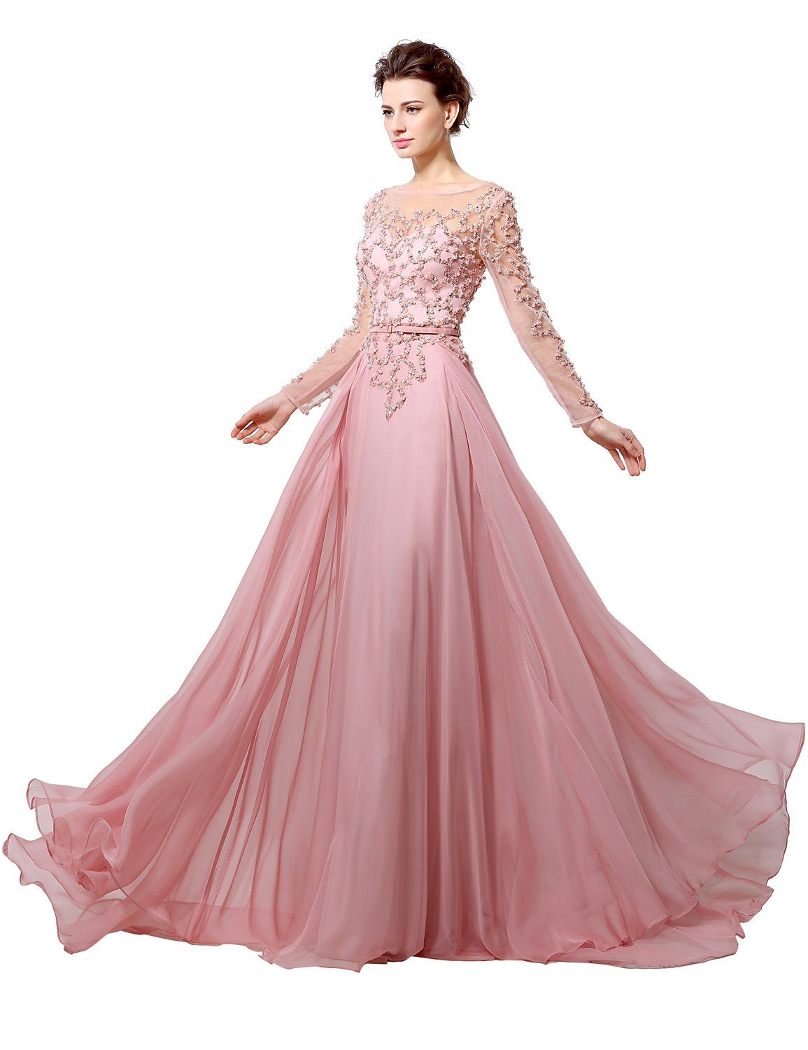 Clearbridal womenus long sleeve crystal sequins prom dress