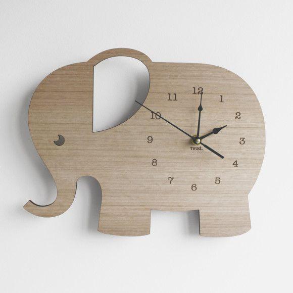 Elephant Wooden Clock