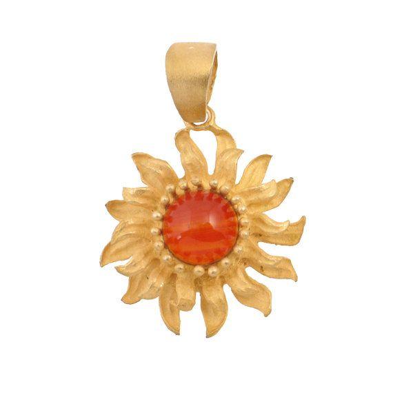 18K Gold & Amber Sunflower Pendant  by EncoreJewelryandGems