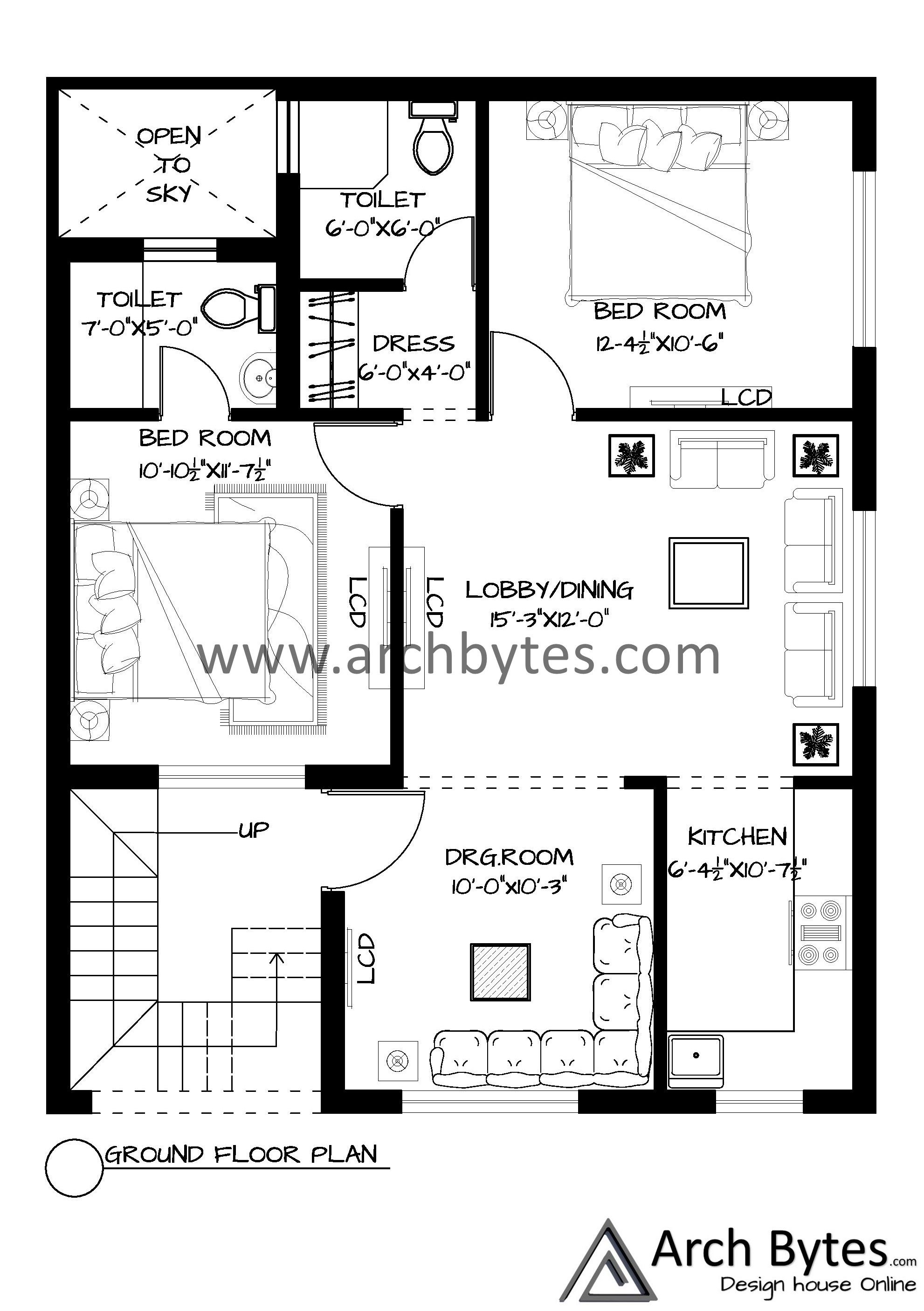 House Plan For 27x35 Feet Plot Size 105 Square Yards Gaj House Plans How To Plan Floor Layout