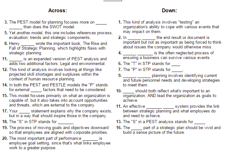 Clues for the Strategic Planning Crossword Puzzle #1  You