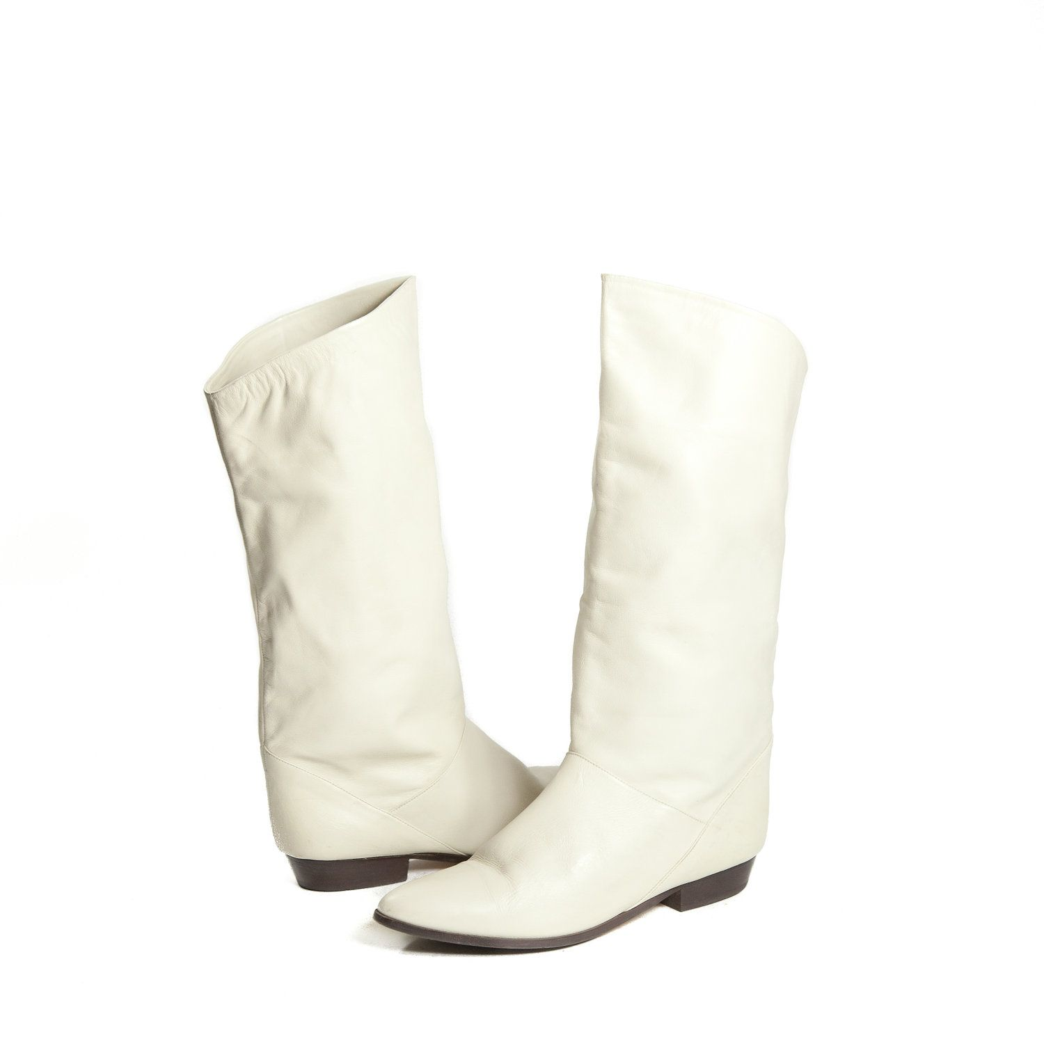 80s Vintage White Spring Fashion Boots for by wildrabbitvintage