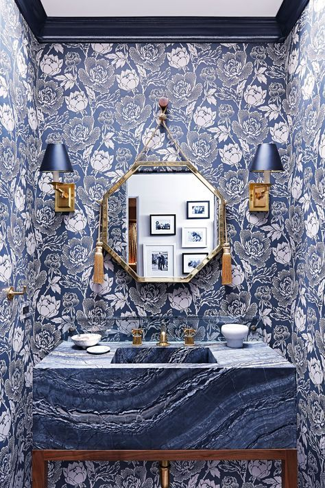 Peony wallpaper lines the walls of this colorhappy powder