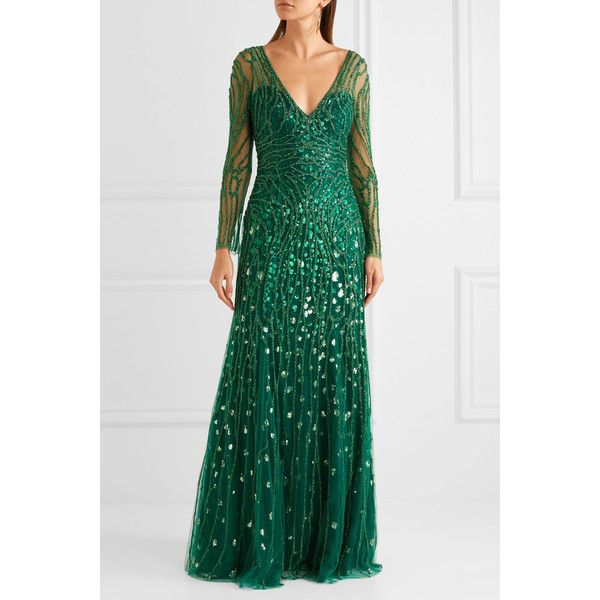 Embellished Tulle Gown - Forest green Jenny Packham Discount For Sale Buy Cheap Fast Delivery Best Seller For Sale bSK09PJ