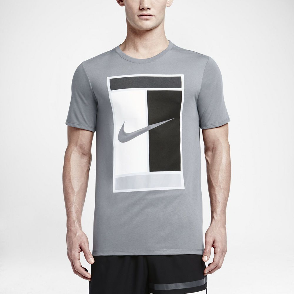 91a8e7f51 Nike Oz Court Tennis Logo Mens Dri-FIT Shirt Cool Grey Black White ...