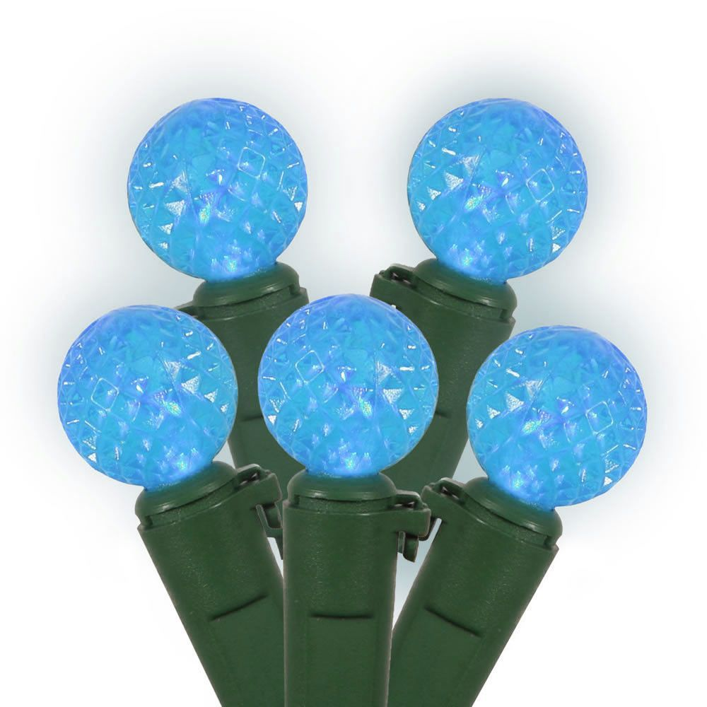 50 Sky Blue LED Lights / Green Wire G12 Berry 16Ft. Christmas Set ...