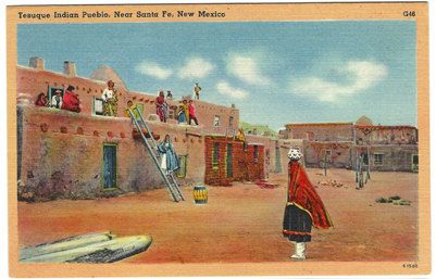 Santa Fe NM New Mexico Tesuque Indian Pueblo Linen Postcard c1950s by OakwoodView