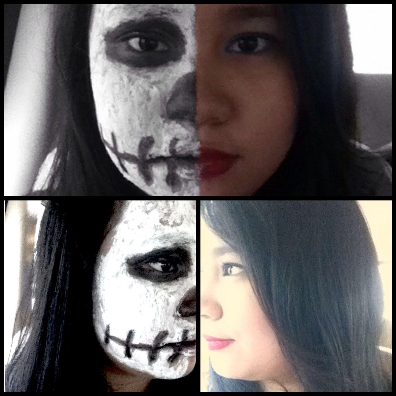 Easy two faced halloween makeup. Half skeleton, half human. All ...