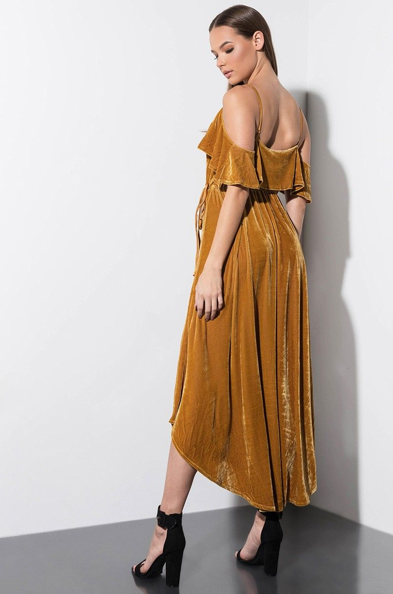 9763999a7136e Side View Va Va Voom Velvet Wrap Dress in Mustard | What to Wear ...