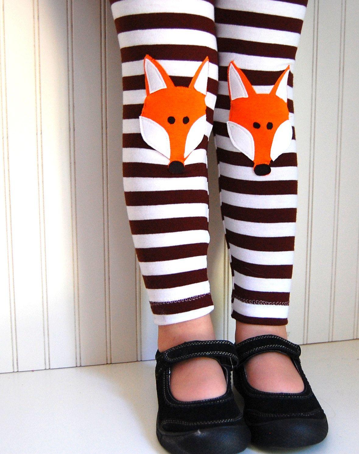 a3a53824dc4ba Girls Fox Knee Patch, Brown Striped Leggings | kiddo style | Kids ...