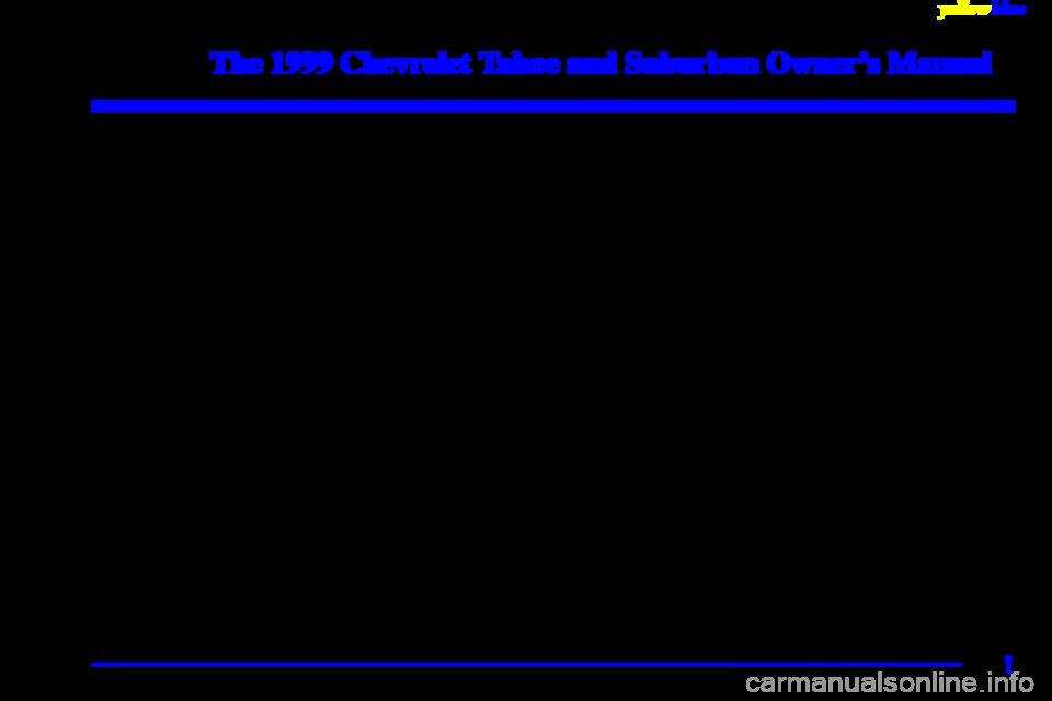 Chevrolet Tahoe 1999 1 G Owners Manual Chevrolet Tahoe Owners Manuals Tahoe