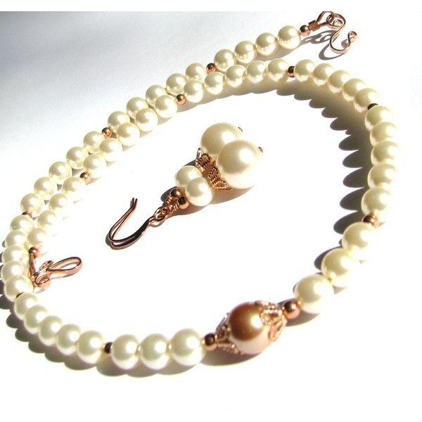 CIJ Sale Rose Gold Jewelry Swarovski Creamrose Pearl Necklace Rose