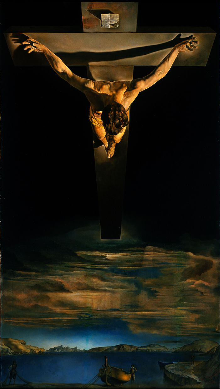 this painting of christ on the cross with darkness of the sky veil