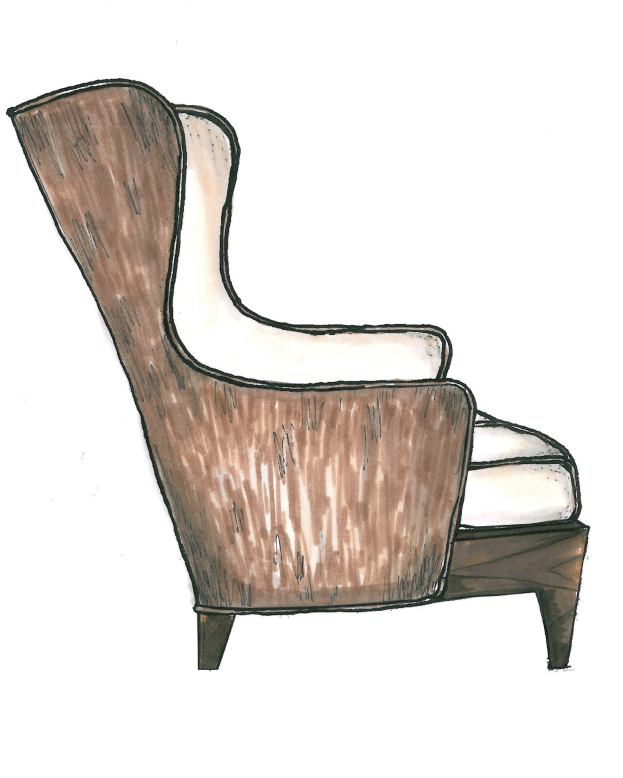 Chair Sketch chair no. twenty nine initial sketch, wingback chair, arm chair