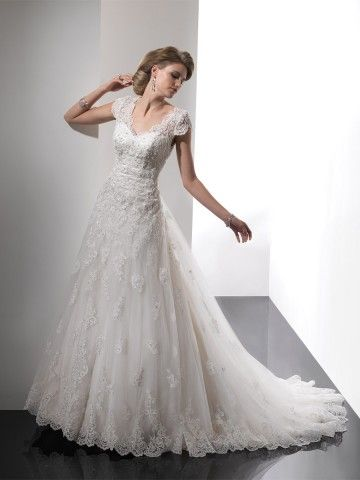 style aline vneck beading short sweep brush train lace wedding dresses brides