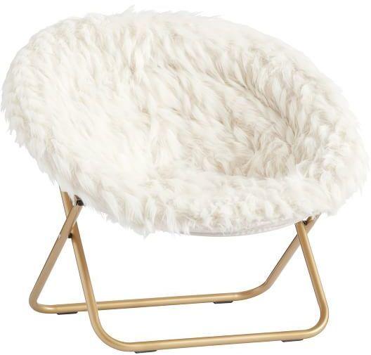 Pottery Barn Teen Hang A Round Chair, Winter Fox Faux Fur W/ Gold Base