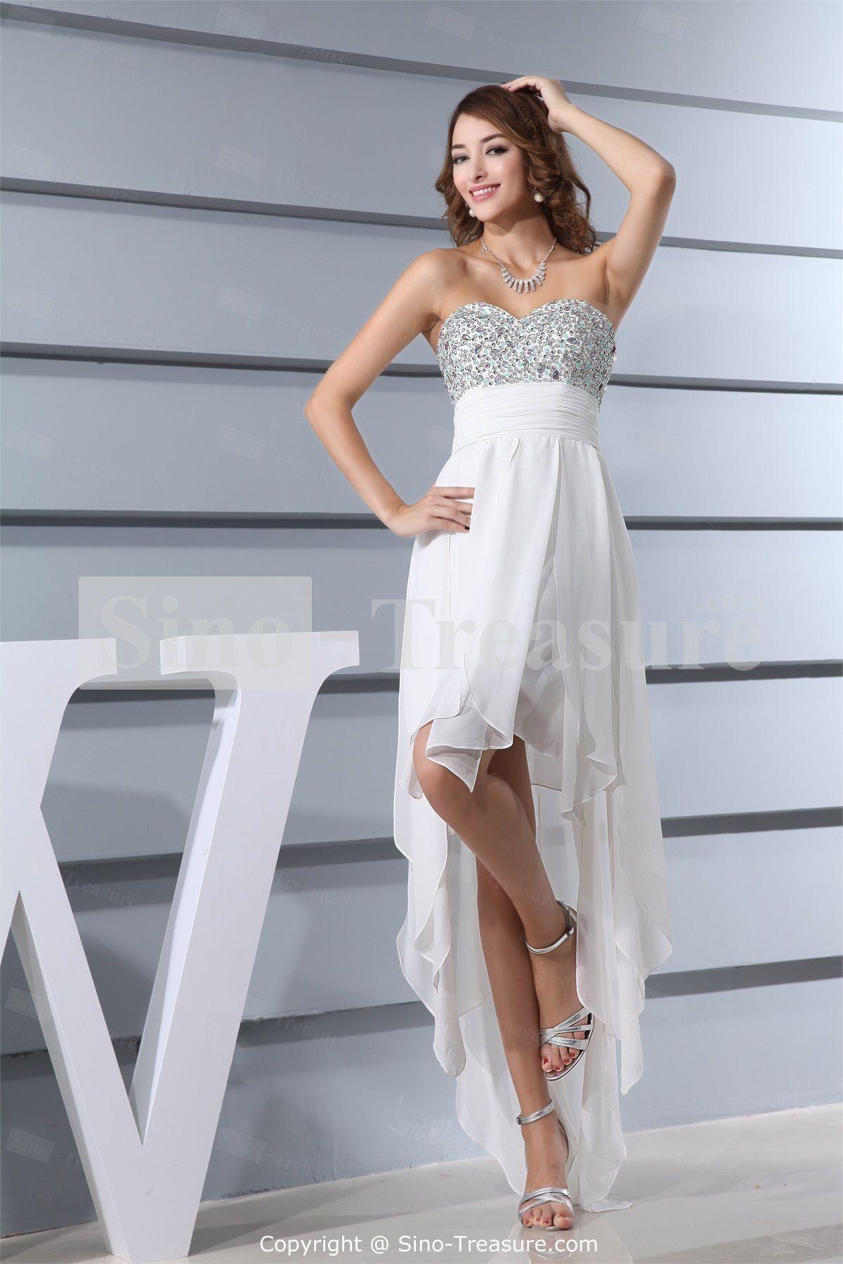 Chiffon/Silk-like Satin Sweetheart Sleeveless A-Line Asymmetrical ...