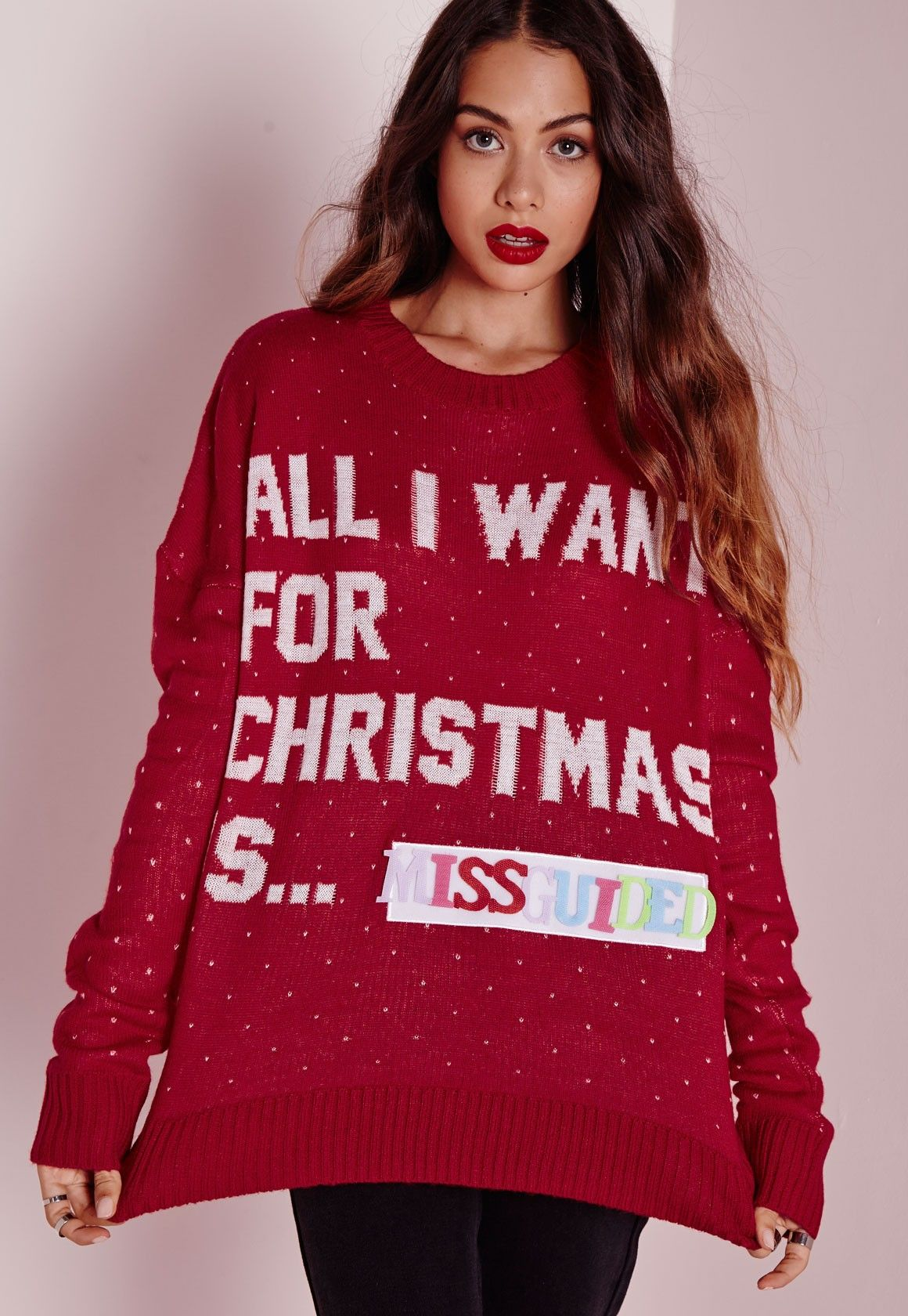 Missguided - Damita DIY Slogan Knit Holiday Sweater Red  | All I ...