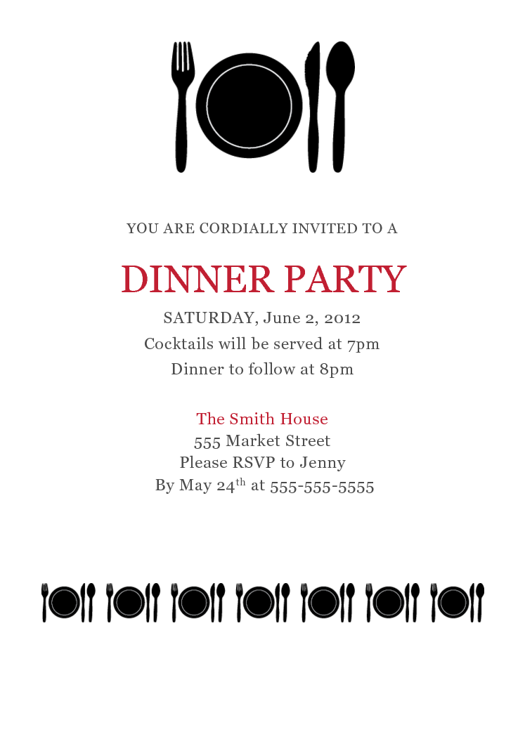 dinner party invitation template party invitatioin cards