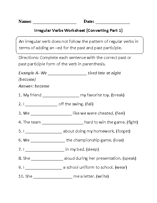 Englishlinx.com Verbs Worksheets Irregular Verbs, Verb Worksheets,  Irregular Past Tense Verbs