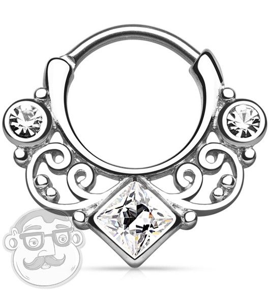 16G Swirly Lace Square Clear CZ Gem Gold Brass Septum Clicker