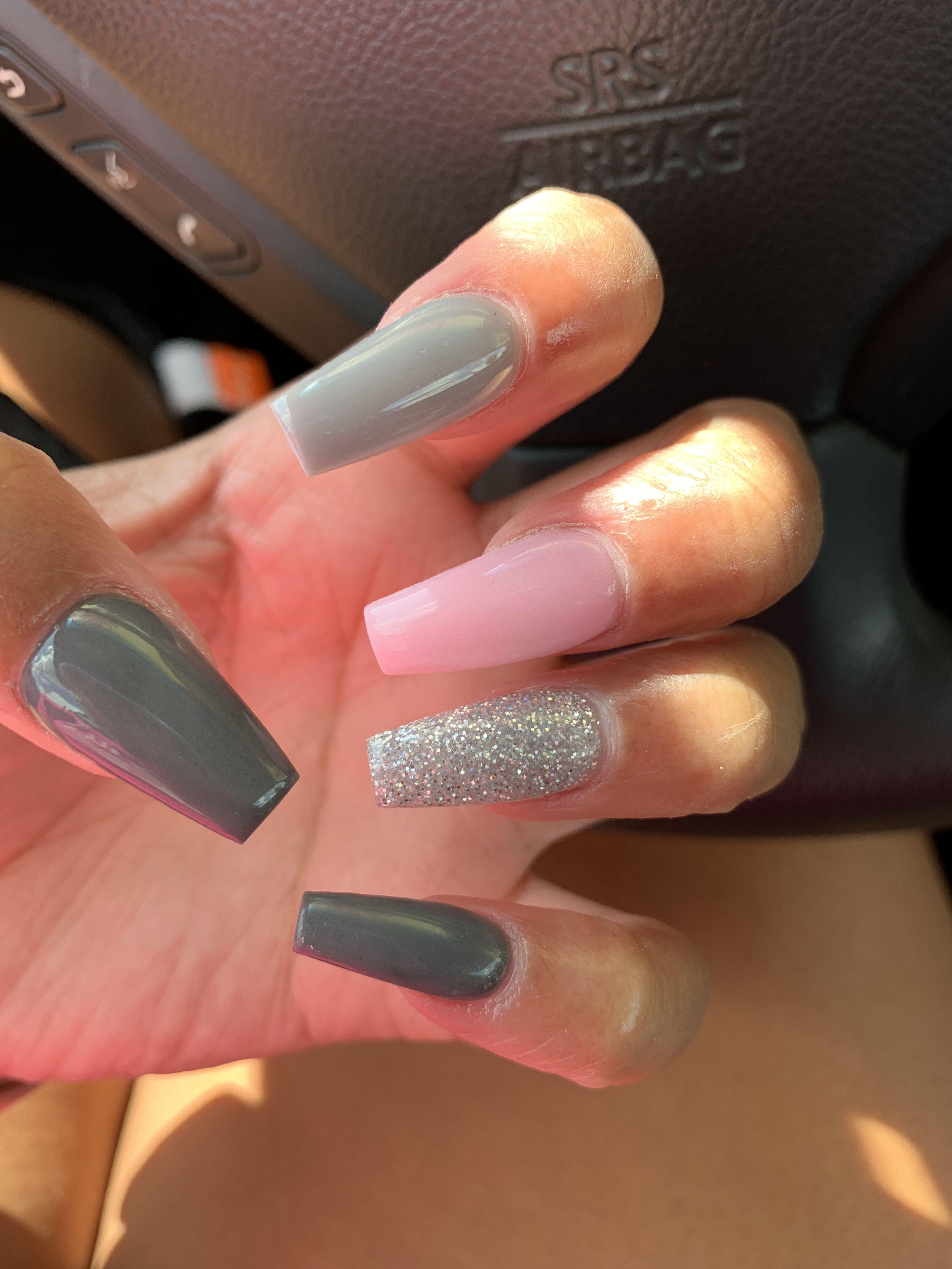 Beginning Of Fall Nails Pink Grey Nails Grey Nail Designs Dark Pink Nails