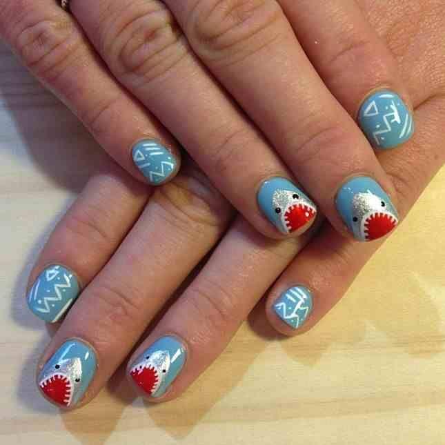 Shark nail art | Perfectly Polished ♡❤ | Pinterest | Shark