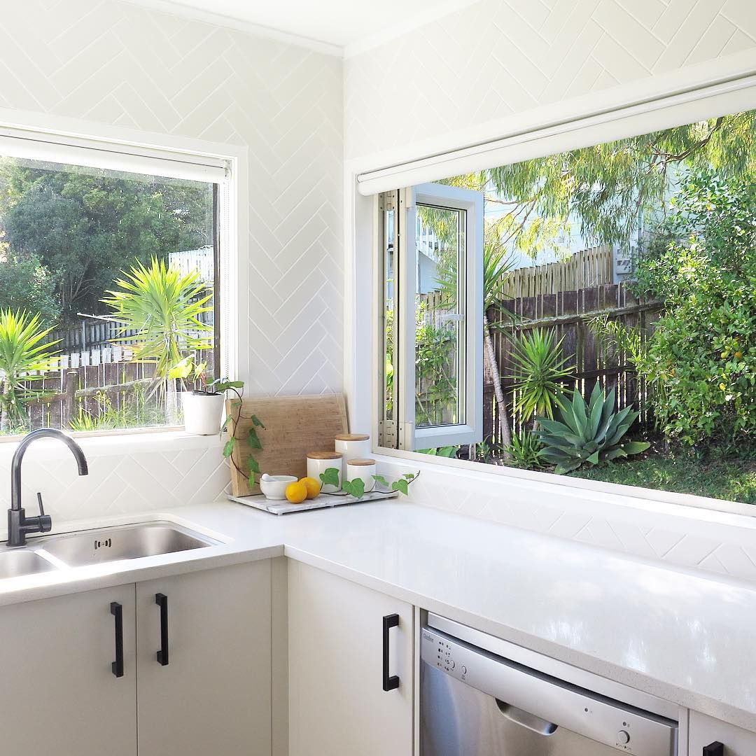 Kitchen Windows: Bright White Kitchen Space With A Herringbone Splashback