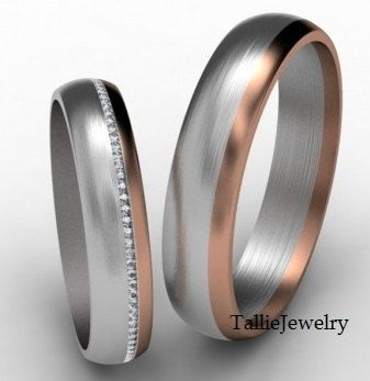 His Hers Mens Womens Matching 14K White and Rose Gold Wedding