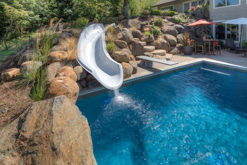 Pool With Slide And Diving Board Awesome Houses