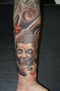 Full sleeve of Buddha and some red flowers - We really like that they added the splash of color in the red flowers and peddles.