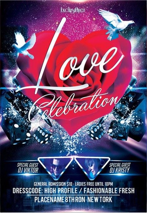 LOVE CELEBRATION u2013 FREE CLUB AND PARTY FLYER PSD TEMPLATE - Free - love templates free