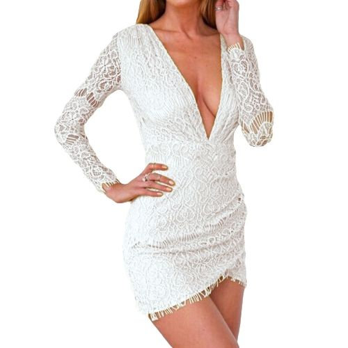 Womens stylish deep v-neck lace tunic mini dress