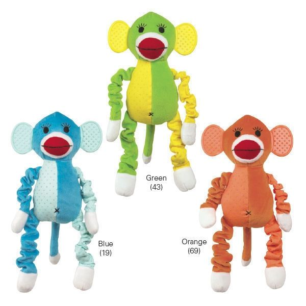 Sock Monkey Dog Toy With 4 Ways To Play Plush Rubber Bungee Nubby