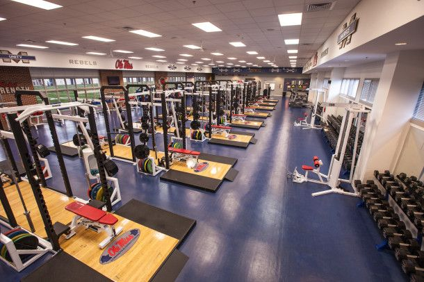 Arms Race Photos Of Top Weight Rooms In College Football Saturday Down South College Football Ole Miss Football Ole Miss