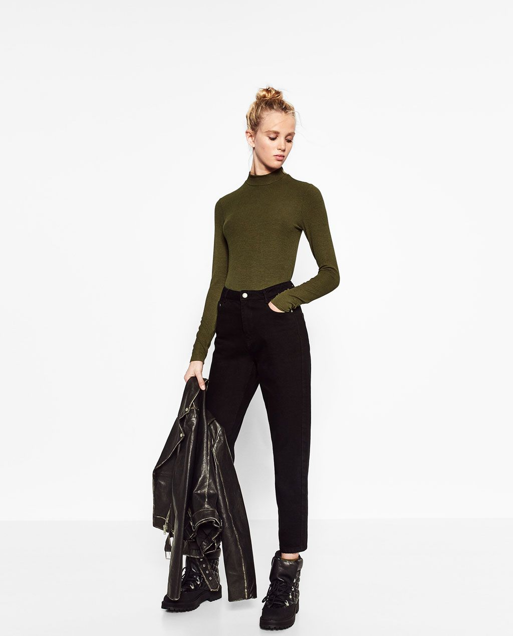 2ae221859c27 Image 1 of RIBBED FUNNEL NECK TOP from Zara