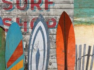 Beach Art Surfboards On Distressed Wood 2 Sizes Available