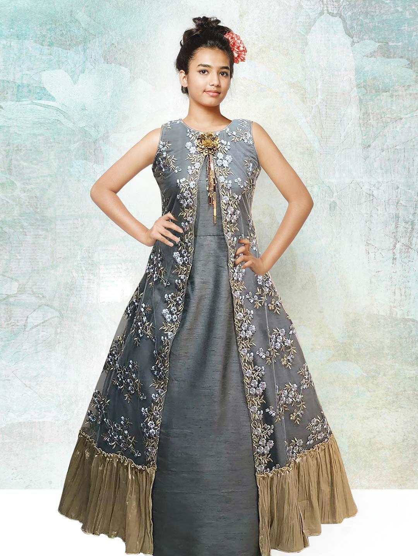 a72438ab85 Grey designer long gown for girls - G3-GGO0446 in 2019   dress ...