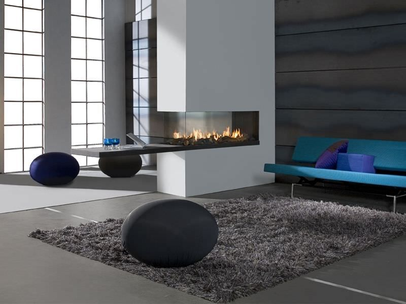 Inspiring White Double Sided Gas Fireplace Room Divider Design